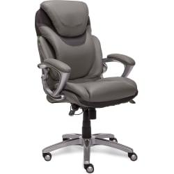 Serta(R) AIR(TM) Health Wellness Executive Office Chair, Bonded Leather, Light Grey