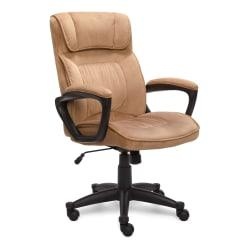 Serta(R) Executive Office Microfiber Mid-Back Chair, Light Beige/Black