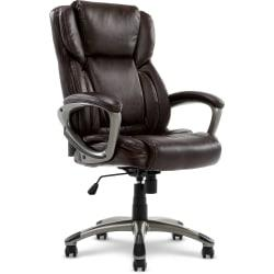 Serta(R) Executive Office Bonded Leather High-Back Chair, Biscuit Brown/Silver