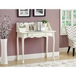 Monarch Specialties Wood Secretary Desk, Antique White