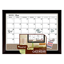 Quartet(R) Magnetic Dry-Erase/Cork Board 1-Month Calendar, 17in. x 23in., Brown/White, Champagne/Espresso Wood Frame