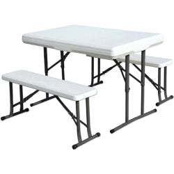 Stansport Folding Picnic Table With Bench, White