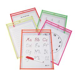C-Line(R) Reusable Dry-Erase Pockets, 9in. x 12in., Neon Assorted Colors, Pack Of 10