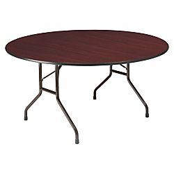 Iceberg Premium Wood Laminate Folding Table, Round, 29in.H x 60in.W x 60in.D, Mahogany\/Steel Gray