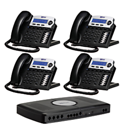 XBLUE Networks X16 Corded Telephone Bundle, Charcoal, Set of 4