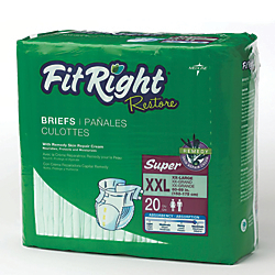 FitRight Restore Briefs, XX-Large, Green, 20 Briefs Per Bag, Case Of 4 Bags