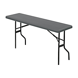 Iceberg Resin Folding Table, 29in.H x 72in.W x 18in.D, Charcoal\/Black