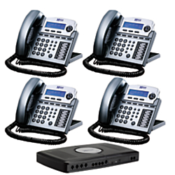 XBLUE Networks X16 Corded Telephone Bundle, Titanium Metallic, Set of 4