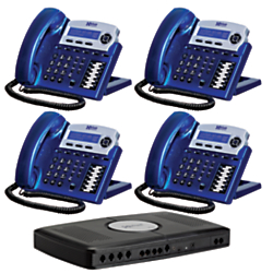 XBLUE Networks X16 Corded Telephone Bundle, Vivid Blue, Set of 4