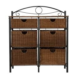 Southern Enterprises Iron/Wicker Storage Chest, Rectangle, Black/Brown