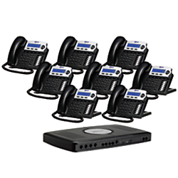 XBLUE Networks X16 Corded Telephone Bundle, Charcoal, Set of 8