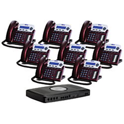 XBLUE Networks X16 Corded Telephone Bundle, Red Mahogany, Set of 8