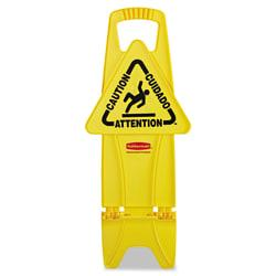 Rubbermaid(R) Commercial Stable Multilingual Caution Safety Sign, 26in.H x 13in.W x 13 1/4in.D, Yellow