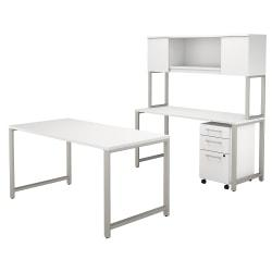 Bush Business Furniture 400 Series 60in.W x 30in.D Table Desk with Credenza, Hutch and 3 Drawer Mobile File Cabinet, White, Standard Delivery