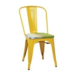 Office Star(TM) Bristow Armless Chairs with Wood Seats, Pine Alice/Yellow, Set Of 4 Chairs