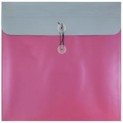 JAM Paper(R) Plastic Poly Envelopes With Button And String Closure, 13in. x 13in., Metallic Pink, Pack Of 12