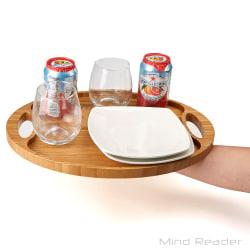 Mind Reader Bamboo Round Serving Tray, 15 3/4in. x 12in., Brown