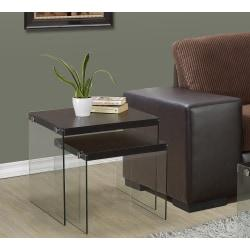 Monarch Specialties 2-Piece Nesting Table Set With Glass Base, Square, Cappuccino