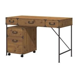 kathy ireland(R) Office by Bush Furniture Ironworks Writing Desk And 2 Drawer Mobile Pedestal, 48in.W, Vintage Golden Pine, Standard Delivery