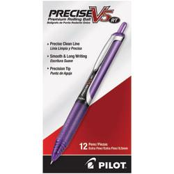 Pilot(R) Precise(TM) V5 Liquid Ink Retractable Rollerball Pens, Extra Fine Point, 0.5 mm, Assorted Barrels, Purple Ink, Pack Of 12