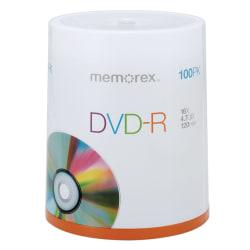 Memorex(TM) DVD-R Recordable Media Spindle, 4.7GB/120 Minutes, Pack Of 100