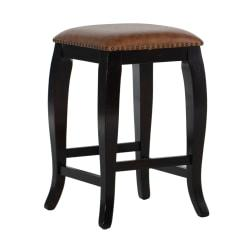 Linon Home Decor Products San Francisco Square Top Stool, 24in. Counter, Caramel/Wenge