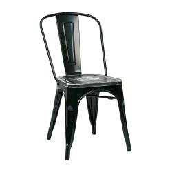 Office Star(TM) Bristow Armless Chairs with Wood Seats, Ash Crazy Horse/Black, Set Of 4 Chairs