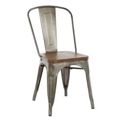 Office Star(TM) Indio Metal Chairs, Vintage Ash Walnut/Matte Gunmetal, Set Of 2 Chairs