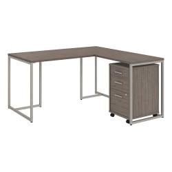 kathy ireland(R) Office by Bush Business Furniture Method 60in.W L Shaped Desk with 30in.W Return and Mobile File Cabinet, Cocoa, Premium Installation