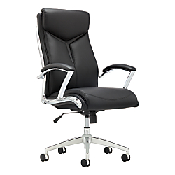 Realspace(R) Verismo Bonded Leather High-Back Chair, Black/Chrome