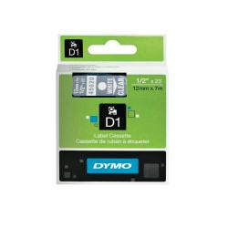 DYMO(R) D1 Electronic Label Maker Tape, 0.5in. x 23ft., White Print/Clear Label