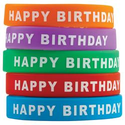 Teacher Created Resources Wristbands, Happy Birthday, 7 1/4in., Assorted Colors, Pre-K - Grade 12, Pack Of 10
