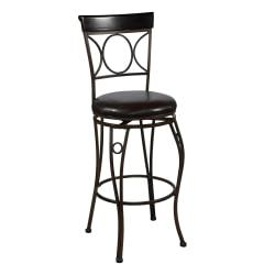 Linon Home Decor Products Circles Back Counter Stool, 24in., Brown/Black