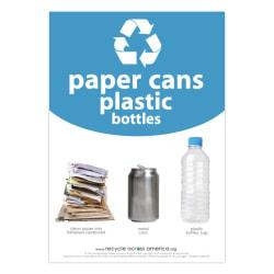 Recycle Across America Paper, Cans And Plastic Standardized Recycling Label, PCP-1007, 10in. x 7in., Light Blue