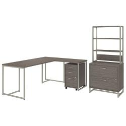 kathy ireland(R) Office by Bush Business Furniture Method 72in.W L Shaped Desk with 30in.W Return, File Cabinets and Hutch, Cocoa, Premium Installation