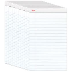 Office Depot(R) Brand Perforated Writing Pads, 8 1/2in. x 14in., Legal Ruled, 50 Sheets, White, Pack Of 12 Pads