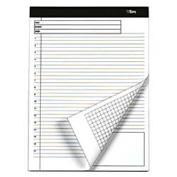 TOPS(TM) Docket Gold(TM) Premium Writing Pads, 8 1/2in. x 11 3/4in., Legal/Quadrille Ruled, 40 Sheets, White, Pack Of 4 Pads