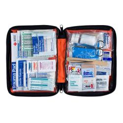First Aid Only Outdoor Essentials Soft-Sided First Aid Kit, 9 1/4in.H x 7 1/2in.W x 2 7/8in.D, Red