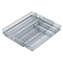 Honey-Can-Do Steel Mesh Expandable Cutlery Tray, 2in.H x 20 1/4in.W x 16 1/2in.D, Gray/Silver