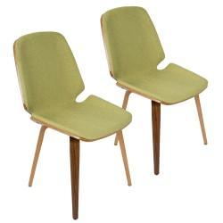 LumiSource Serena Mid-Century Modern Dining Chairs, Green/Walnut, Set Of 2