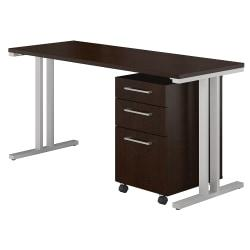 Bush Business Furniture 400 Series Table Desk With 3 Drawer Mobile File Cabinet, 60in.W x 24in.D, Mocha Cherry, Premium Installation