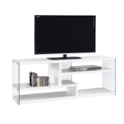 Monarch Specialties TV Stand, Glass, For Flat-Screen TVs Up To 60in., Glossy White