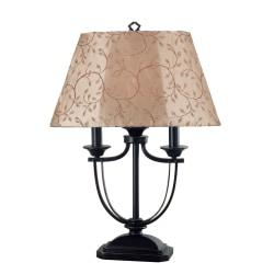 Kenroy Belmont Outdoor Table Lamp, 28in.H, Taupe Shade/Bronze Base