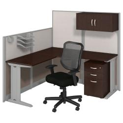 Bush Business Furniture Office In An Hour L Workstation with Storage Chair, Mocha Cherry Finish, Premium Delivery