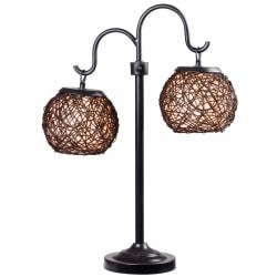 Kenroy Castillo Outdoor Table Lamp, 29in.H, Cream Shade/Bronze Base