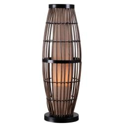 Kenroy Biscayne Outdoor Table Lamp, 31in.H, Tan Shade/Rattan Base
