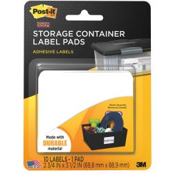 Post-it(R) Removable Storage Container Labels, 2 3/4in. x 3 1/2in., White, Pack Of 10