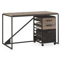 Bush Furniture Refinery Industrial Desk With 3 Drawer Mobile File Cabinet, 50in.W, Rustic Gray/Charred Wood, Standard Delivery