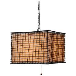 Kenroy Home Trellis Outdoor Hanging Pendant, 16in.H, Cream Shade/Bronze Finish
