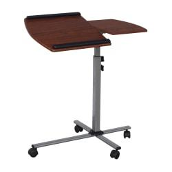 Techni Mobili Mobile Glass\/Metal\/MDF Laptop Cart, 36in.H x 30in.W x 15in.D, Mahogany